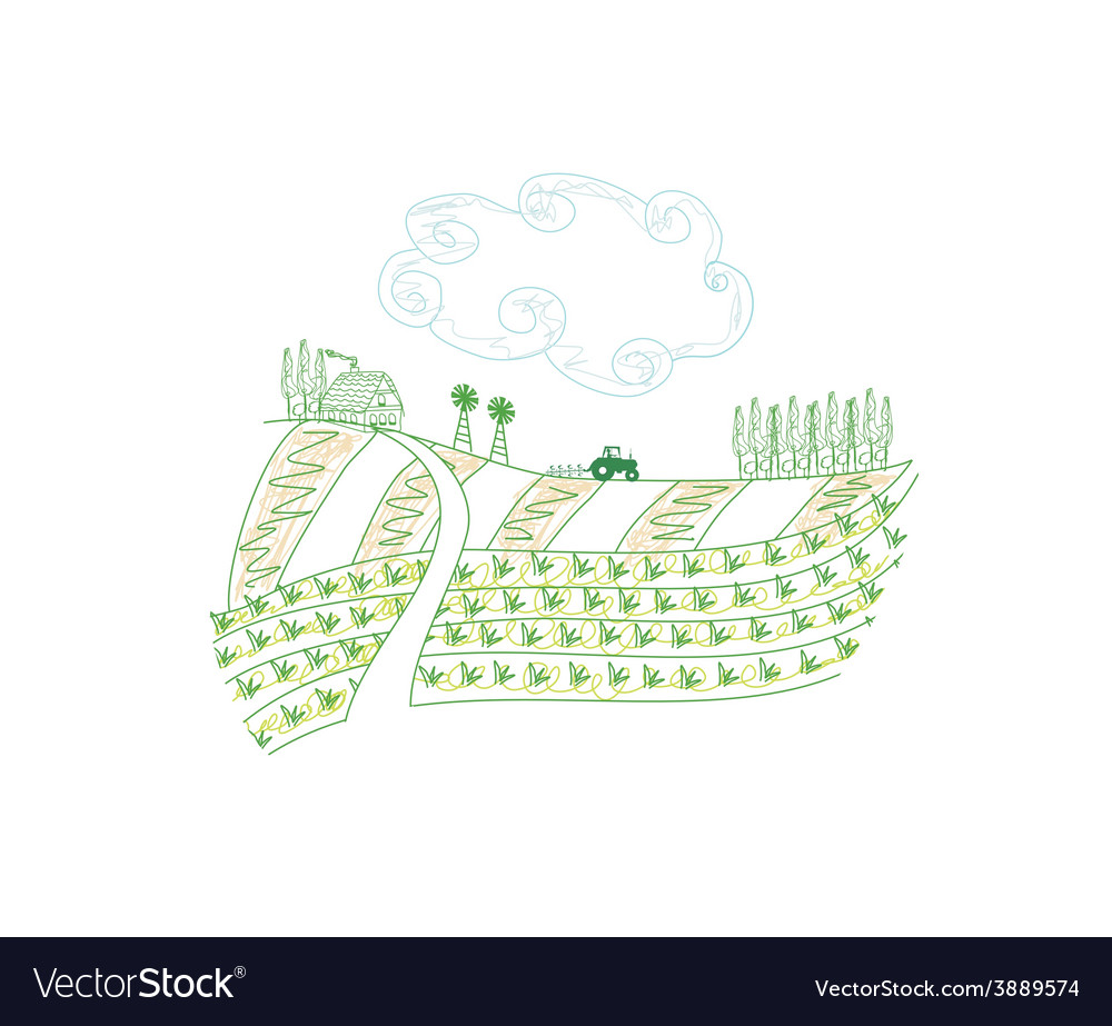 Tractor plowing field vector | Price: 1 Credit (USD $1)