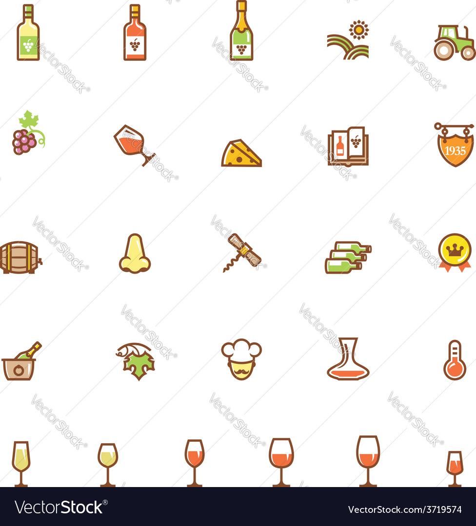 Wine icon set vector | Price: 1 Credit (USD $1)