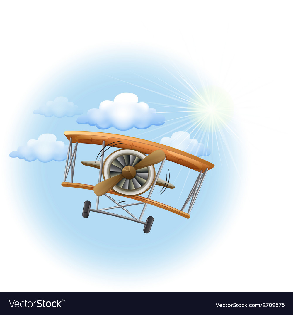 A vintage propeller-powered aircraft in the sky vector | Price: 1 Credit (USD $1)