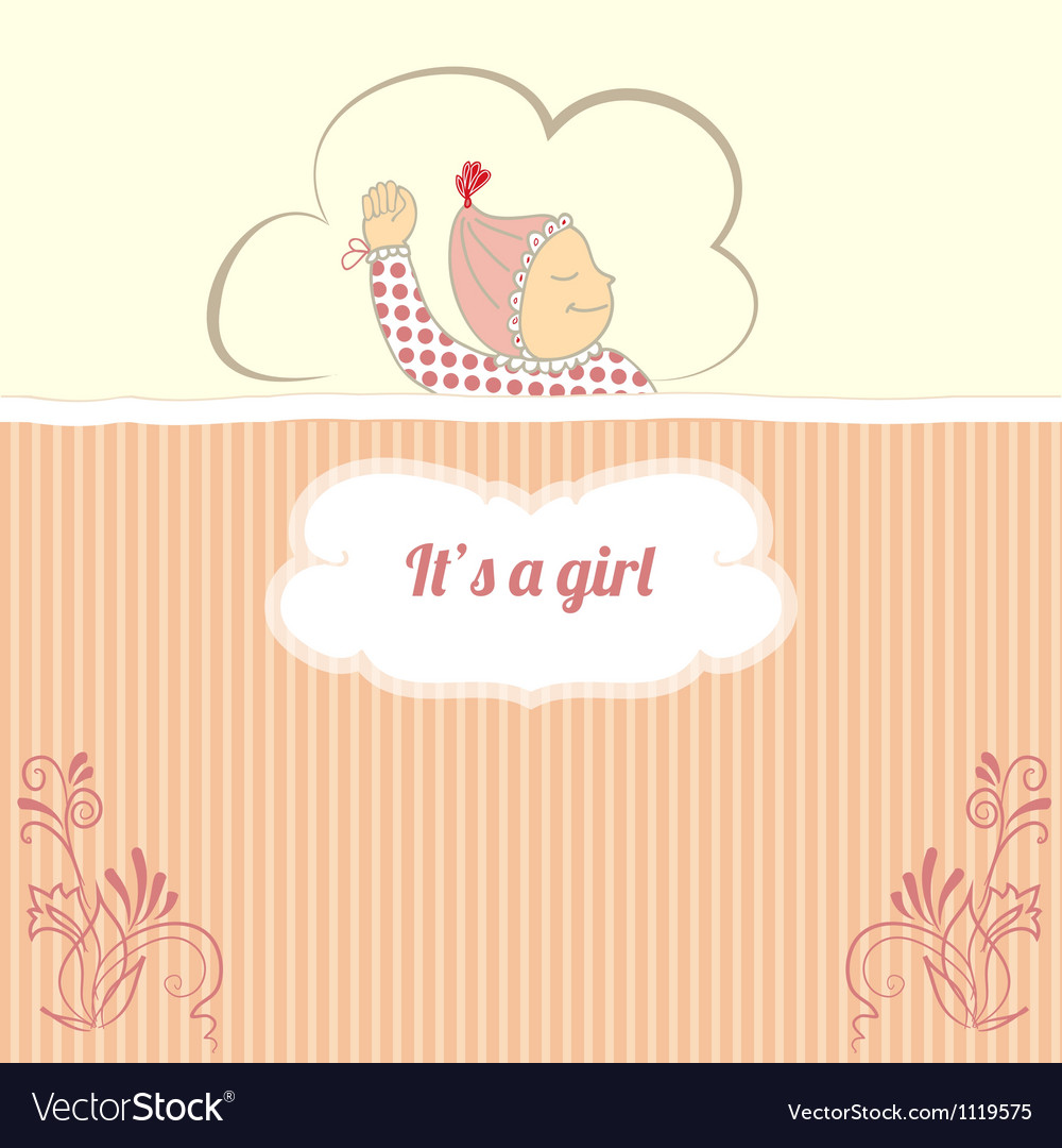Baby shower card with little girl sleep vector | Price: 1 Credit (USD $1)