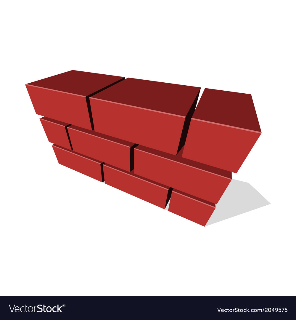 Brick wall icon 3d on white background vector | Price: 1 Credit (USD $1)