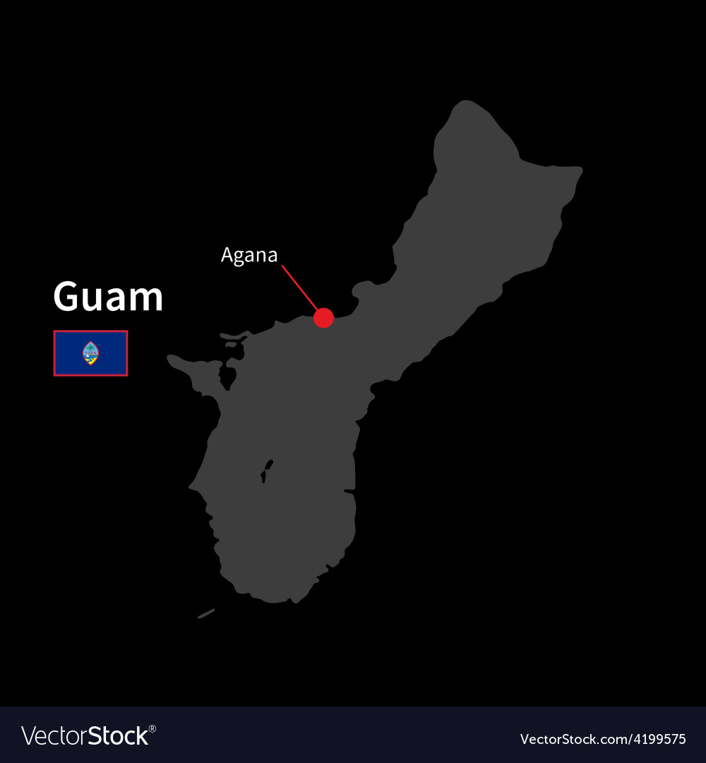Detailed map of guam and capital city agana with vector | Price: 1 Credit (USD $1)