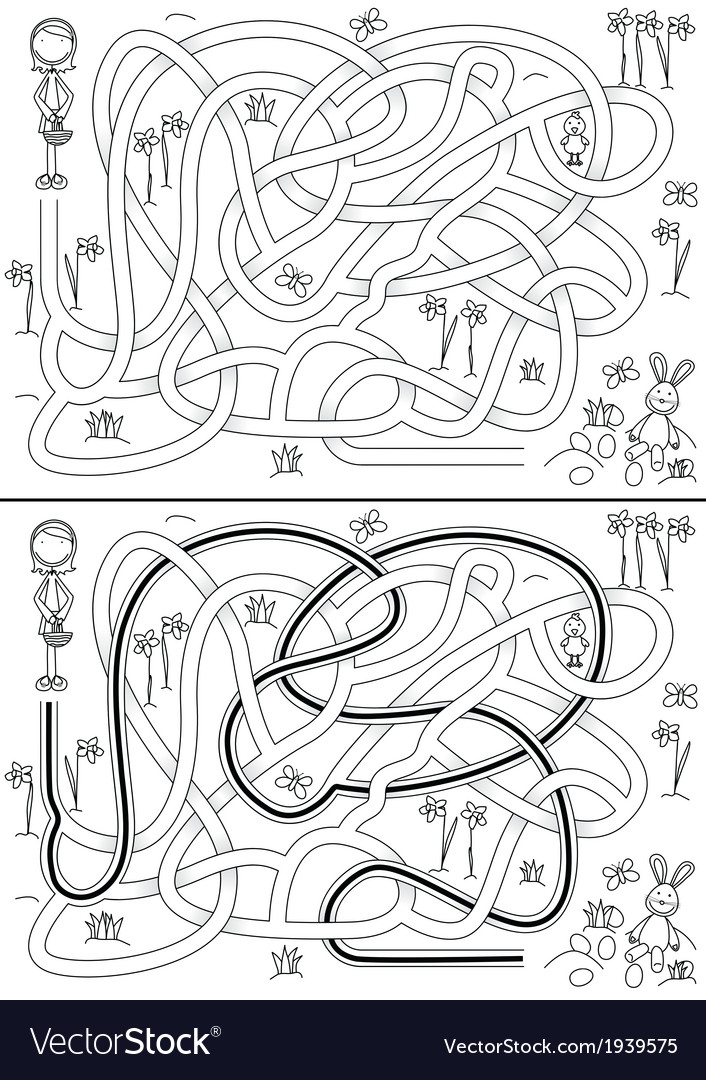 Egg hunt maze vector | Price: 1 Credit (USD $1)