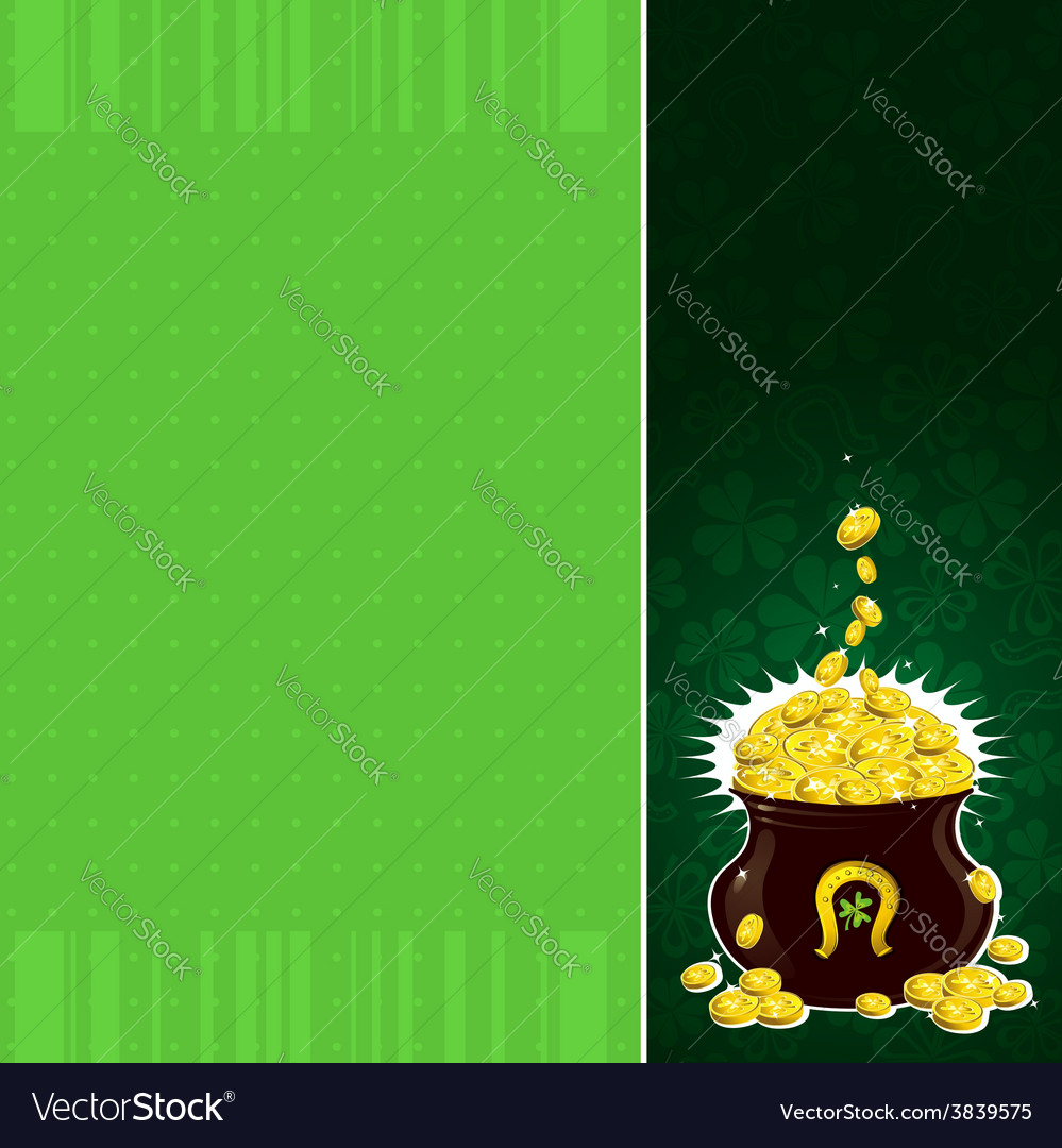 Green patrick background with shamrock and pot vector | Price: 1 Credit (USD $1)