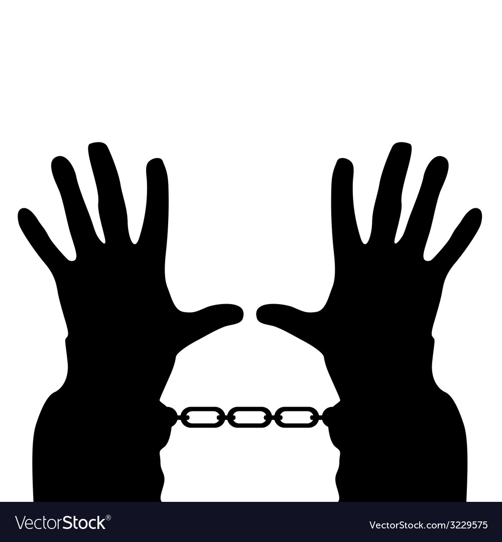 Hands in handcuffs silhouette vector | Price: 1 Credit (USD $1)