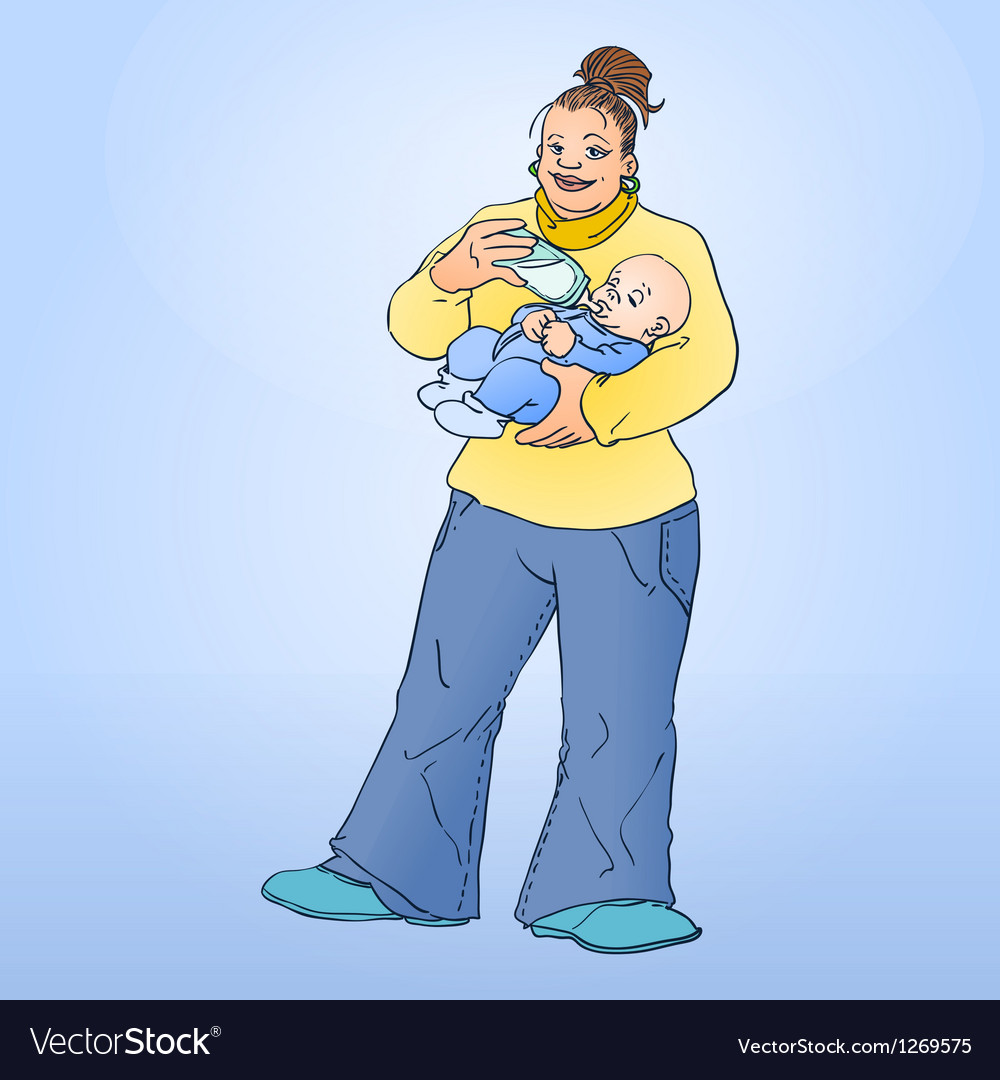 Mother feeding child vector | Price: 3 Credit (USD $3)