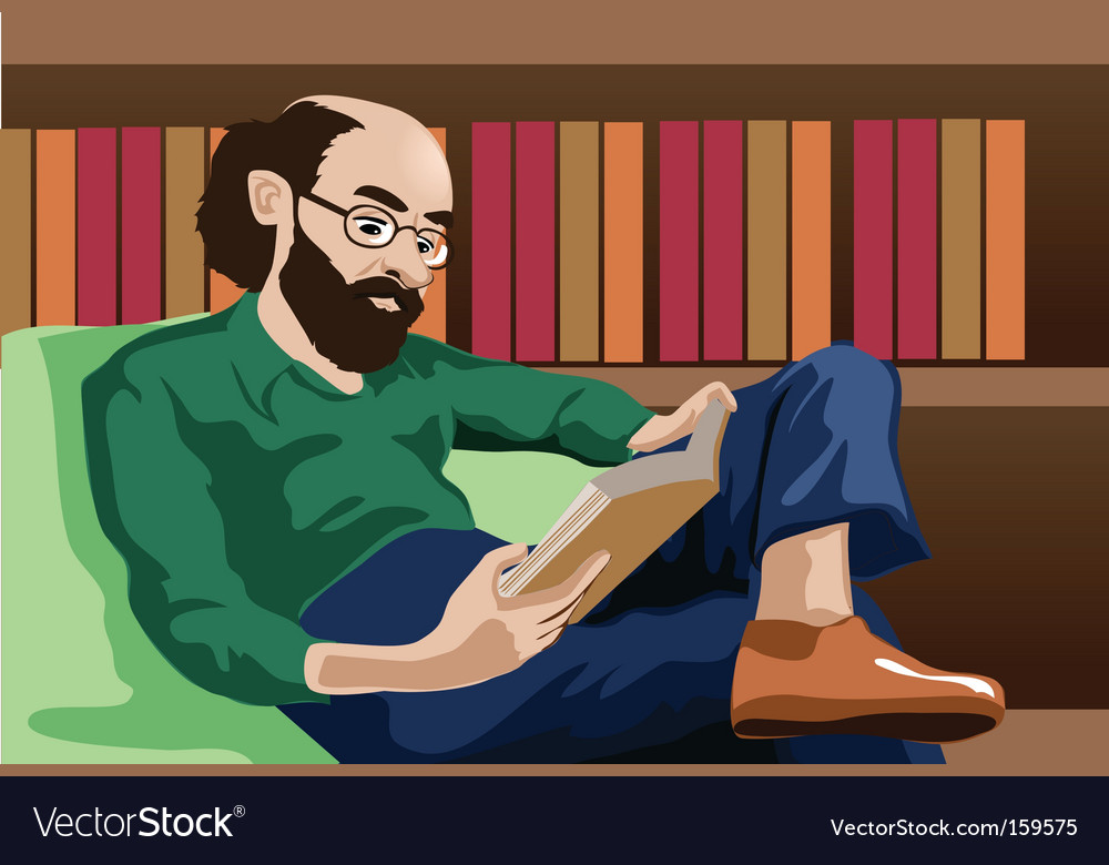 Old man reading vector   Price: 1 Credit (USD $1)