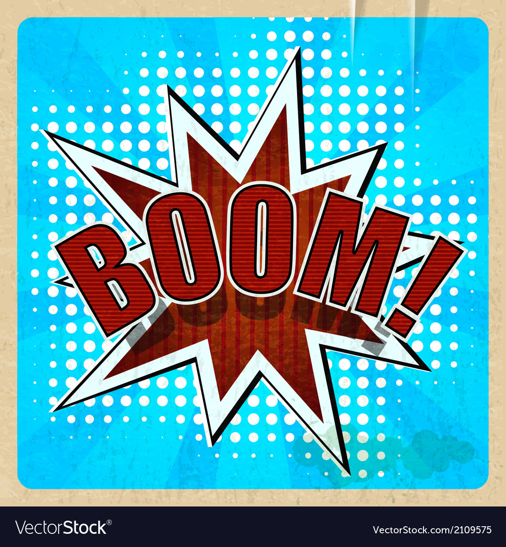 Retro background with boom comic speech bubble vector | Price: 1 Credit (USD $1)