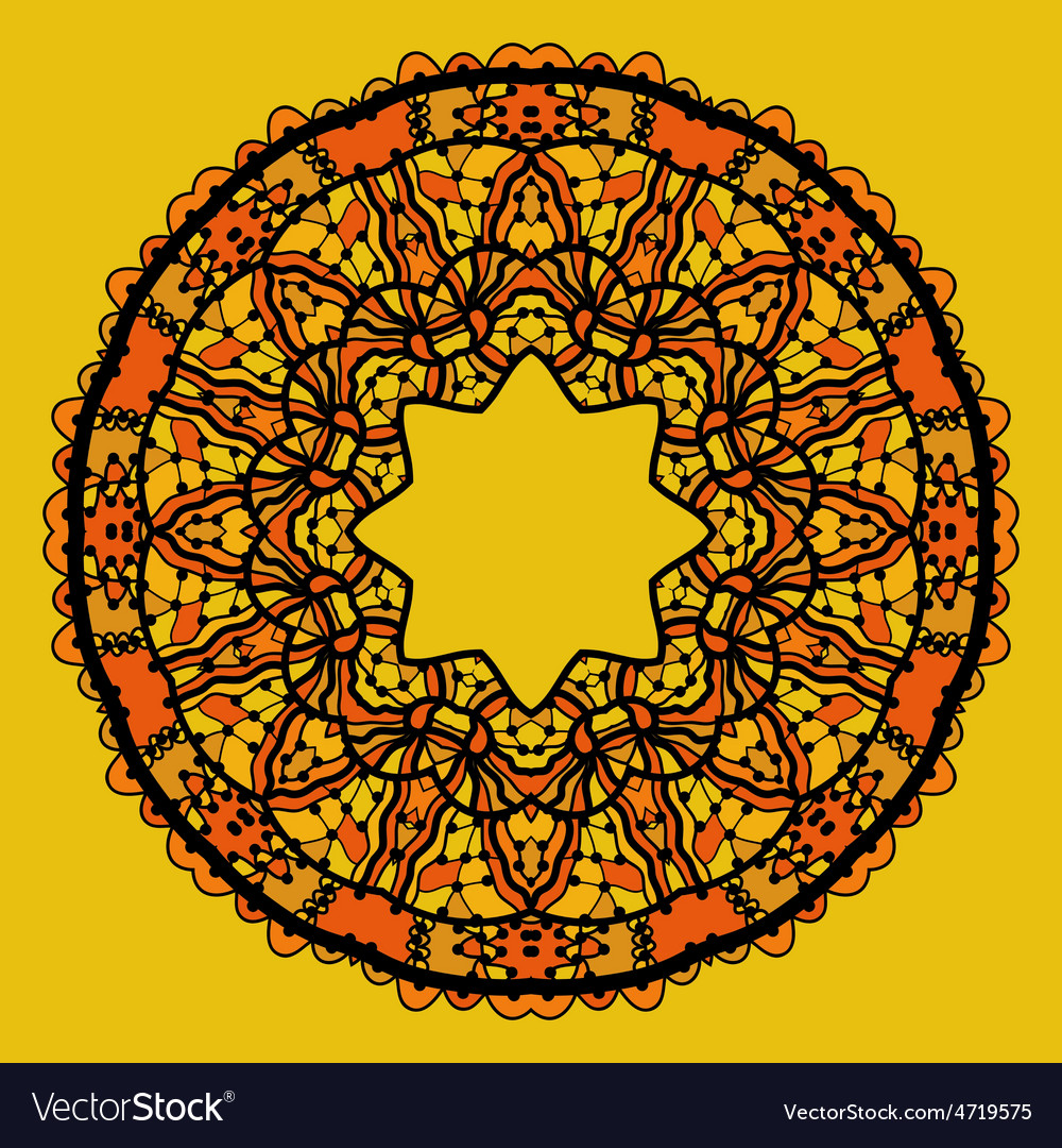 Round lace patterd mandala like design in yellow vector   Price: 1 Credit (USD $1)