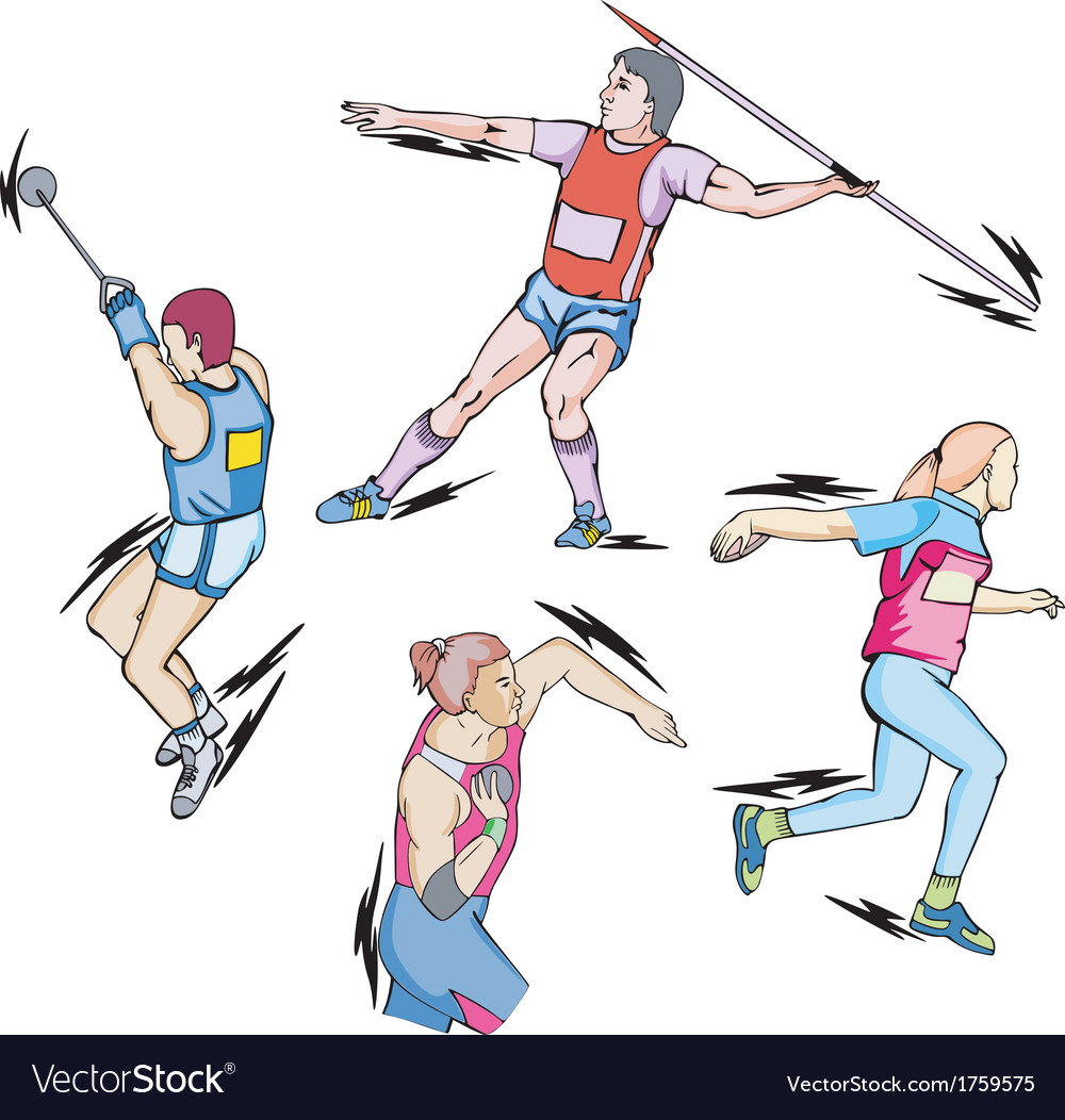 Shot put discus hammer and javelin throw vector | Price: 1 Credit (USD $1)