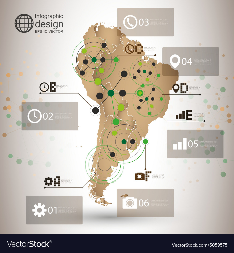 South america map  infographic design for vector | Price: 1 Credit (USD $1)