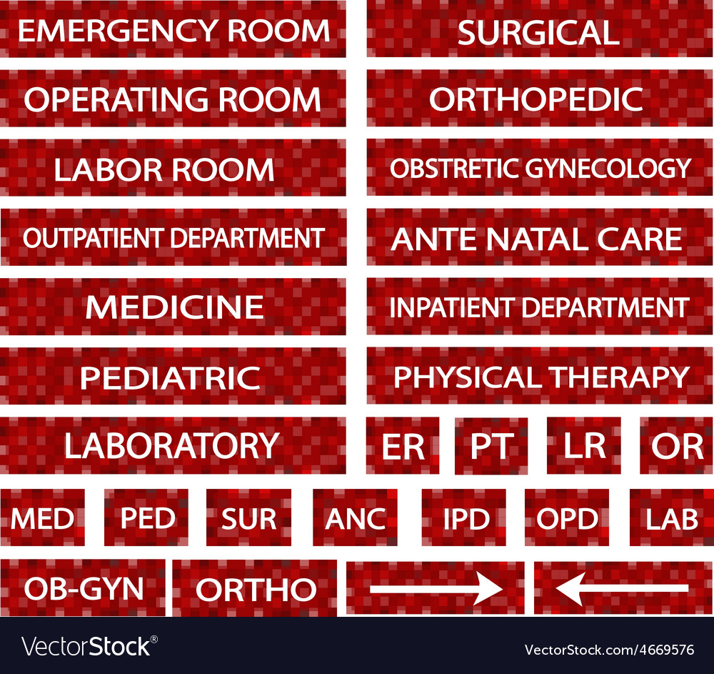 A set of hospital sign and medical abbreviations vector | Price: 1 Credit (USD $1)