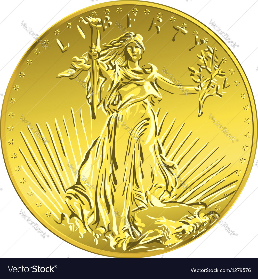 American money gold coin with the image of liberty vector | Price: 1 Credit (USD $1)