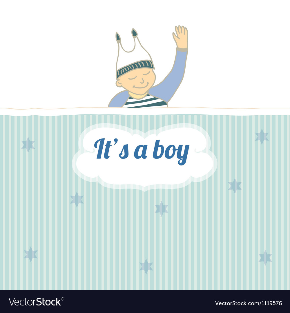 Baby shower card with little boy sleep vector | Price: 1 Credit (USD $1)