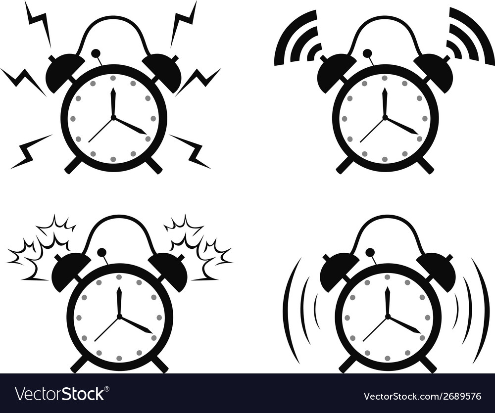 Black alarm clock icon vector | Price: 1 Credit (USD $1)