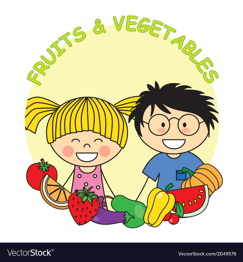 Child with fruit and vegetables vector | Price: 1 Credit (USD $1)