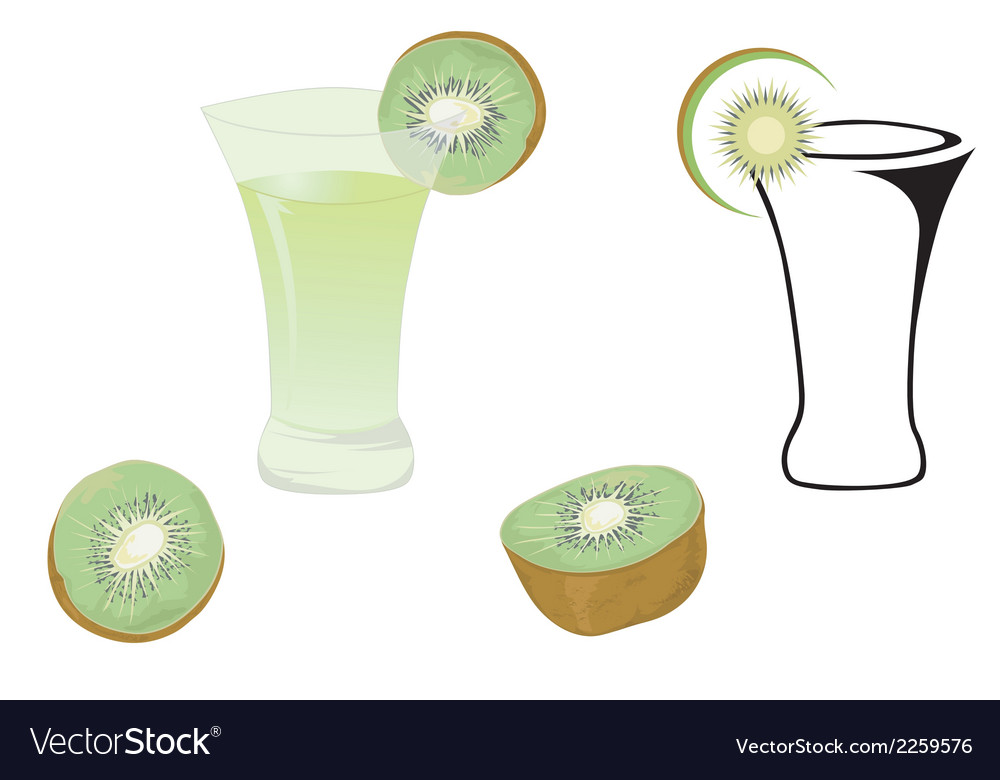 Cocktail glasses and kiwi vector | Price: 1 Credit (USD $1)