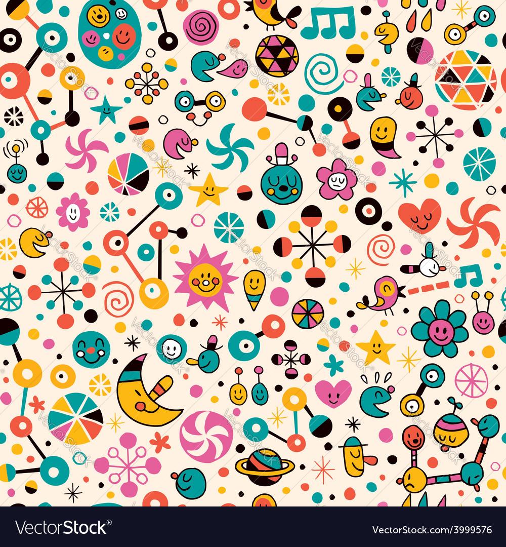 Cute fun cartoon seamless pattern vector   Price: 1 Credit (USD $1)