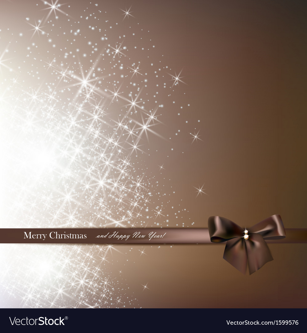 Elegant christmas background with brown bow vector | Price: 1 Credit (USD $1)