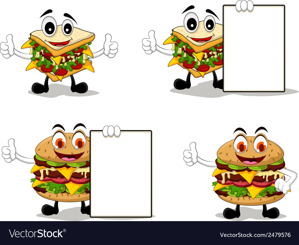 Four sandwich cartoon with different poses vector | Price: 1 Credit (USD $1)