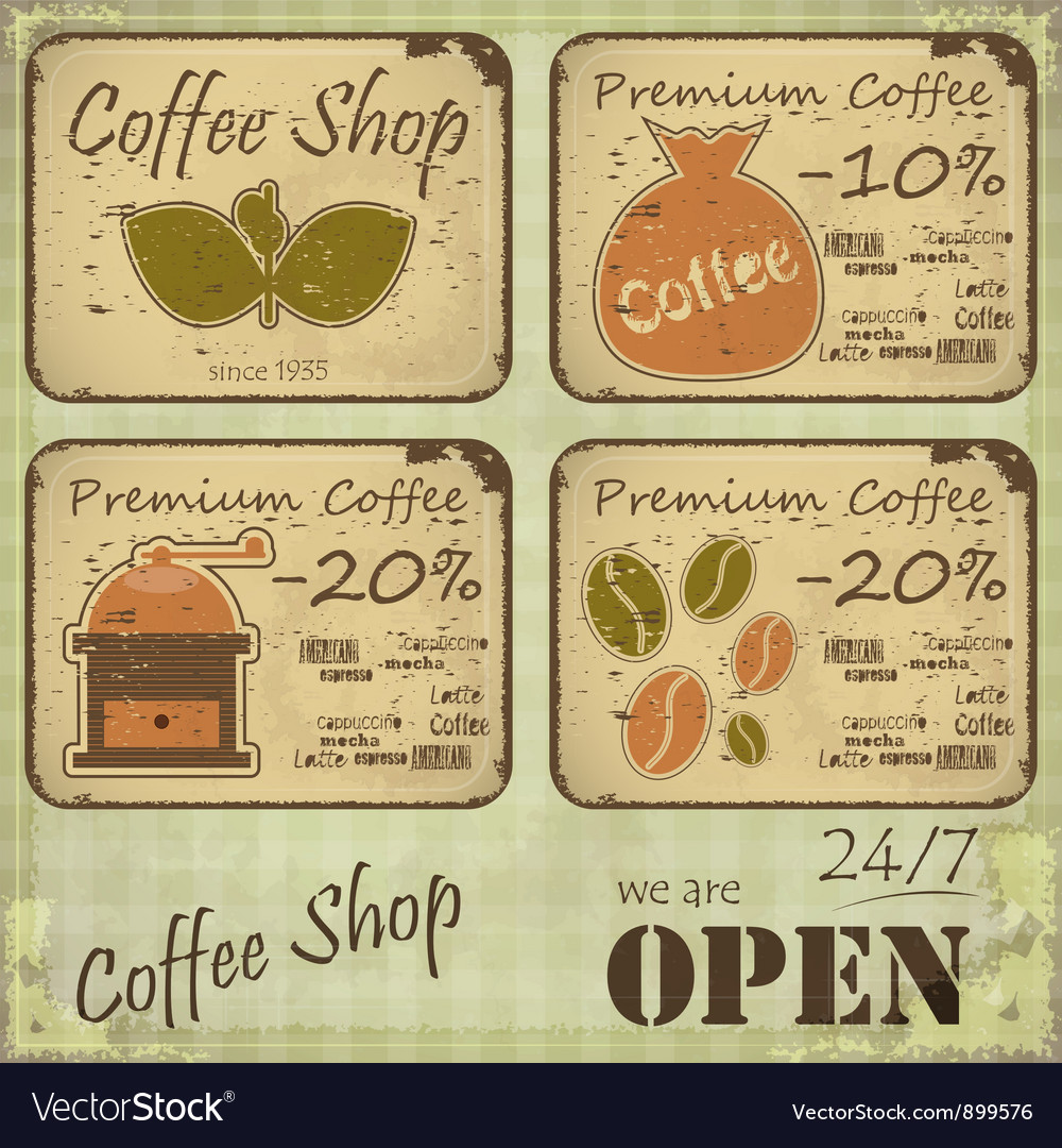 Grunge coffee labels vector | Price: 3 Credit (USD $3)