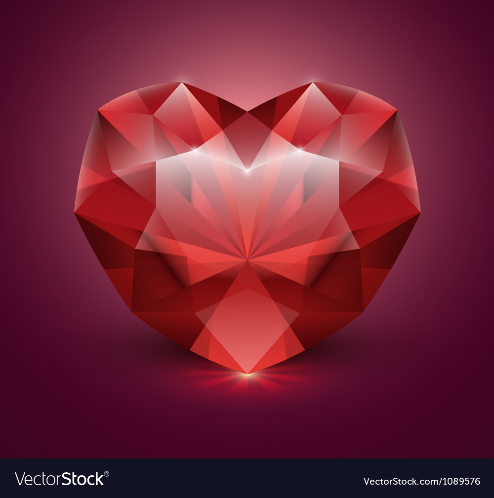 Heart shaped gem stone vector | Price: 1 Credit (USD $1)
