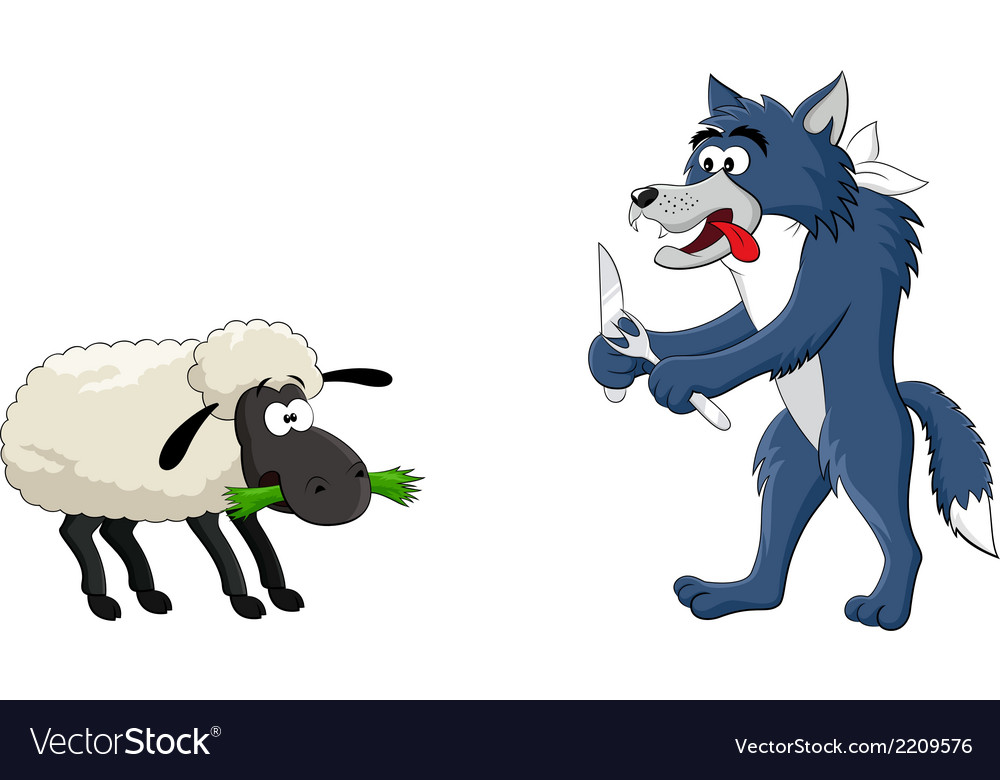 Hungry wolf and sheep vector | Price: 1 Credit (USD $1)