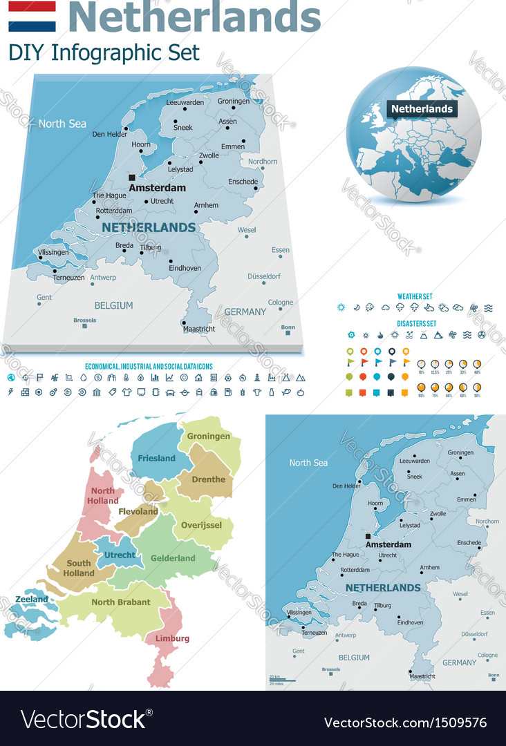 Netherlands maps with markers vector | Price: 3 Credit (USD $3)