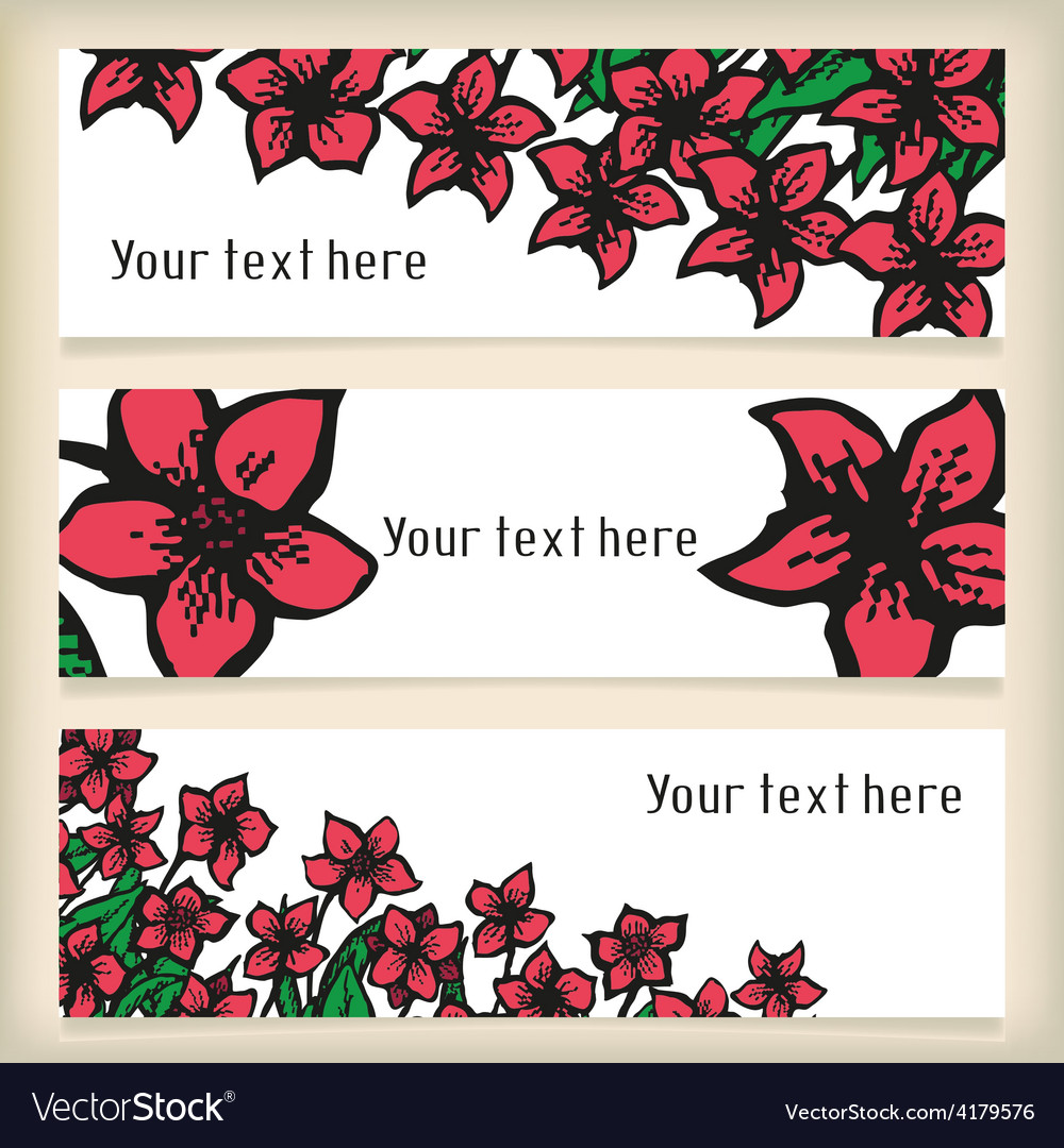 Set of horizontal banners with doodling flowers vector | Price: 1 Credit (USD $1)
