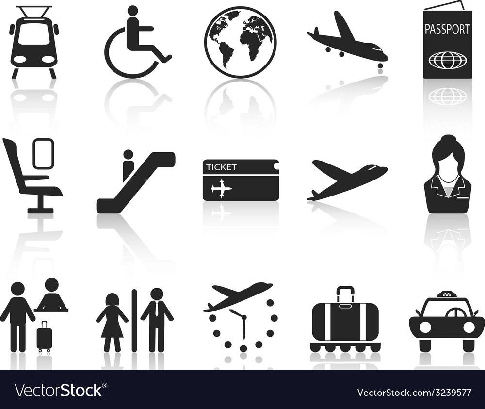 Airport and travel icons set vector | Price: 1 Credit (USD $1)