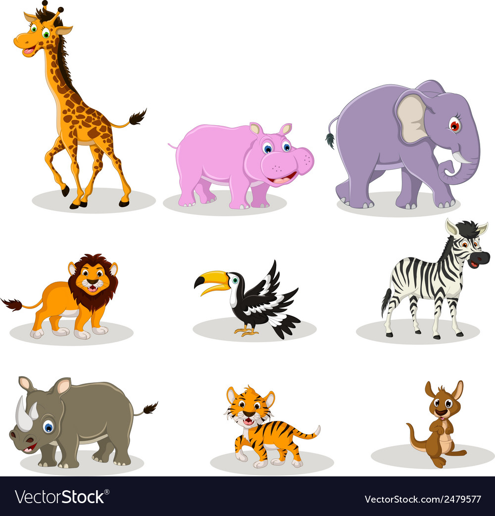 Animal wildlife cartoon collection vector | Price: 1 Credit (USD $1)