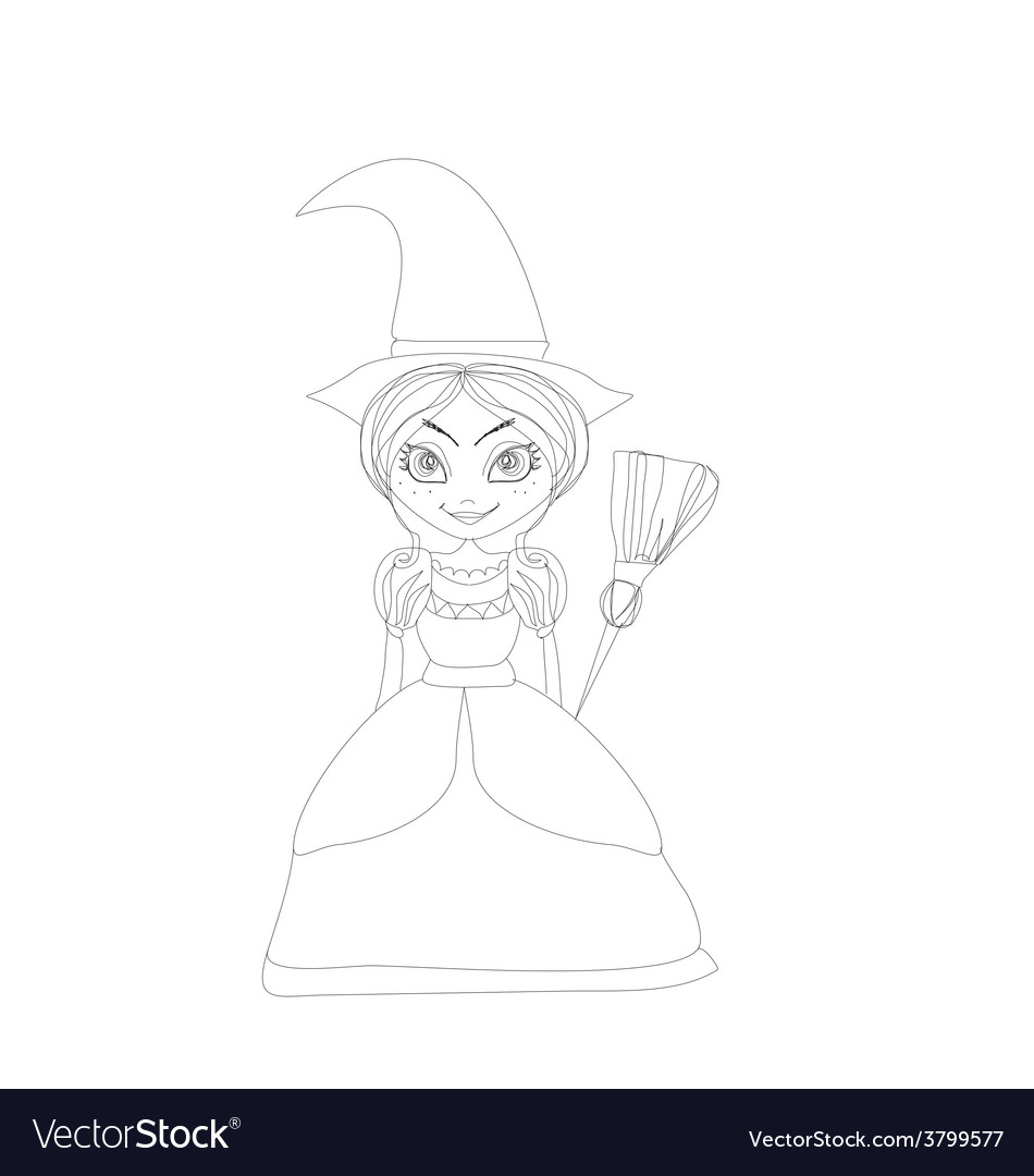 Beautiful little witch vector | Price: 1 Credit (USD $1)
