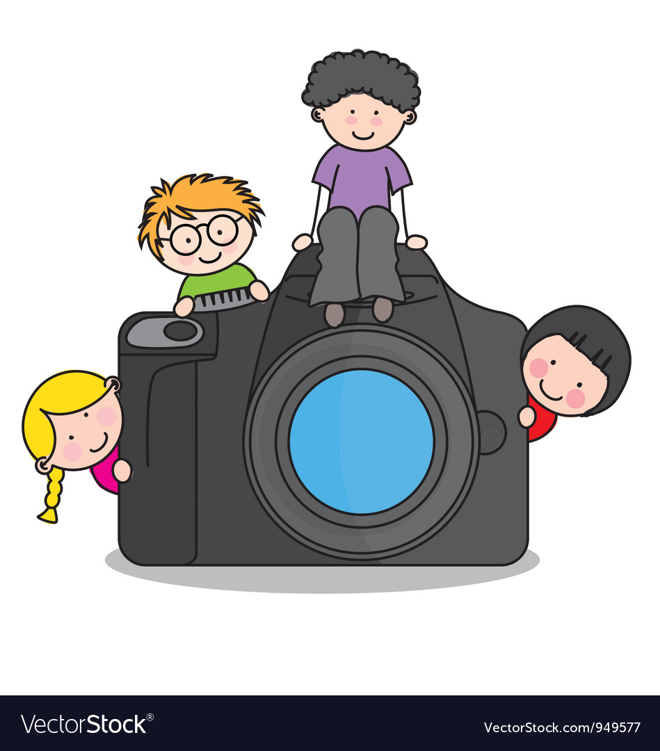 Children with a camera vector | Price: 1 Credit (USD $1)