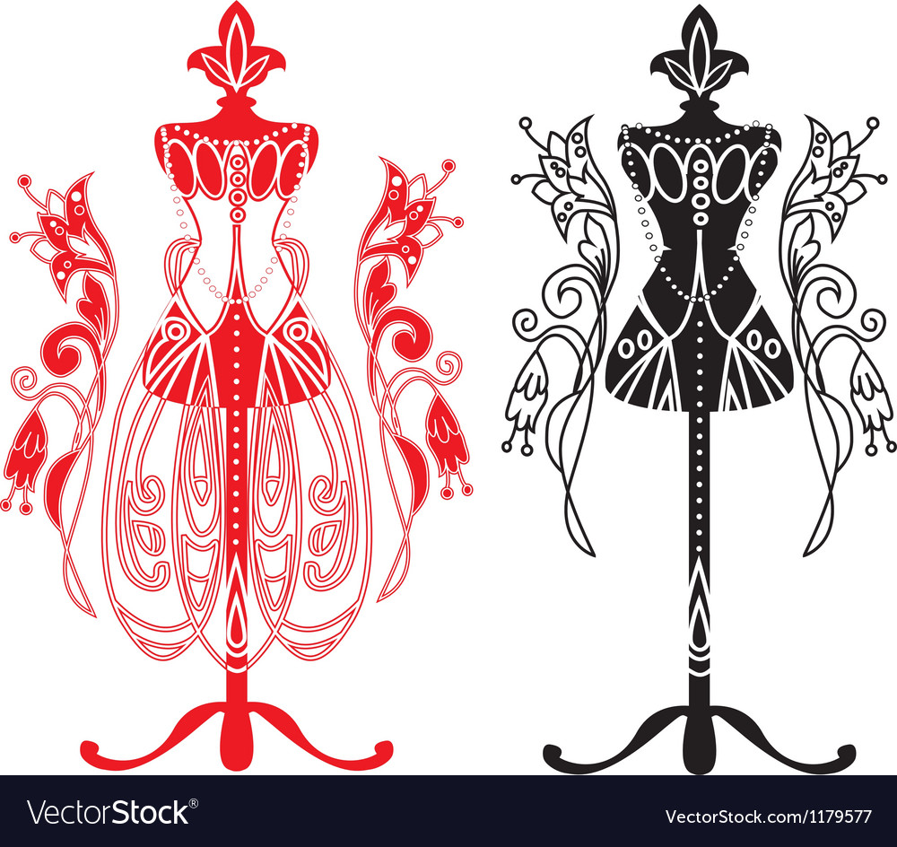 Mannequin for tailors with dress vector | Price: 1 Credit (USD $1)