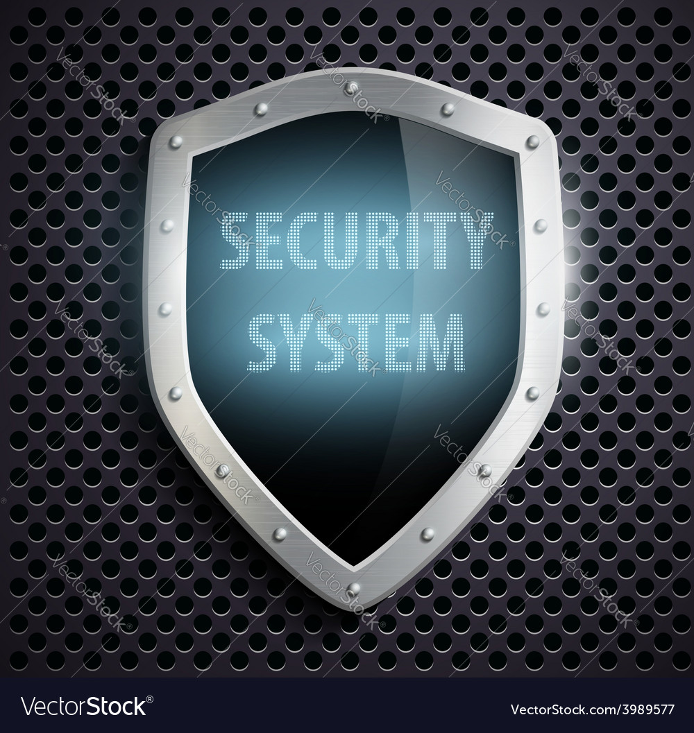 Metal shield with the inscription security system vector | Price: 1 Credit (USD $1)