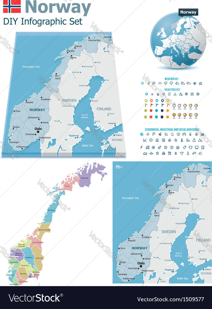 Norway maps with markers vector | Price: 3 Credit (USD $3)