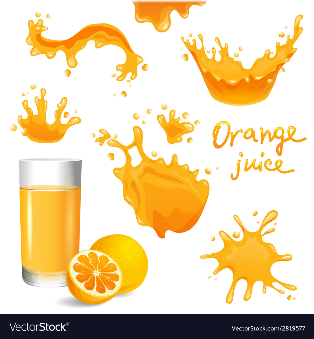 Orange juice splashes vector | Price: 1 Credit (USD $1)