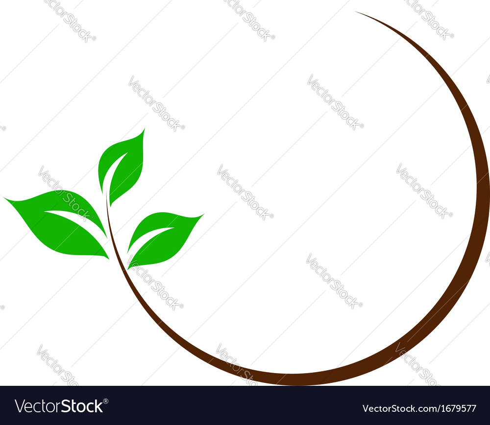 Organic logo with green leaves vector | Price: 1 Credit (USD $1)