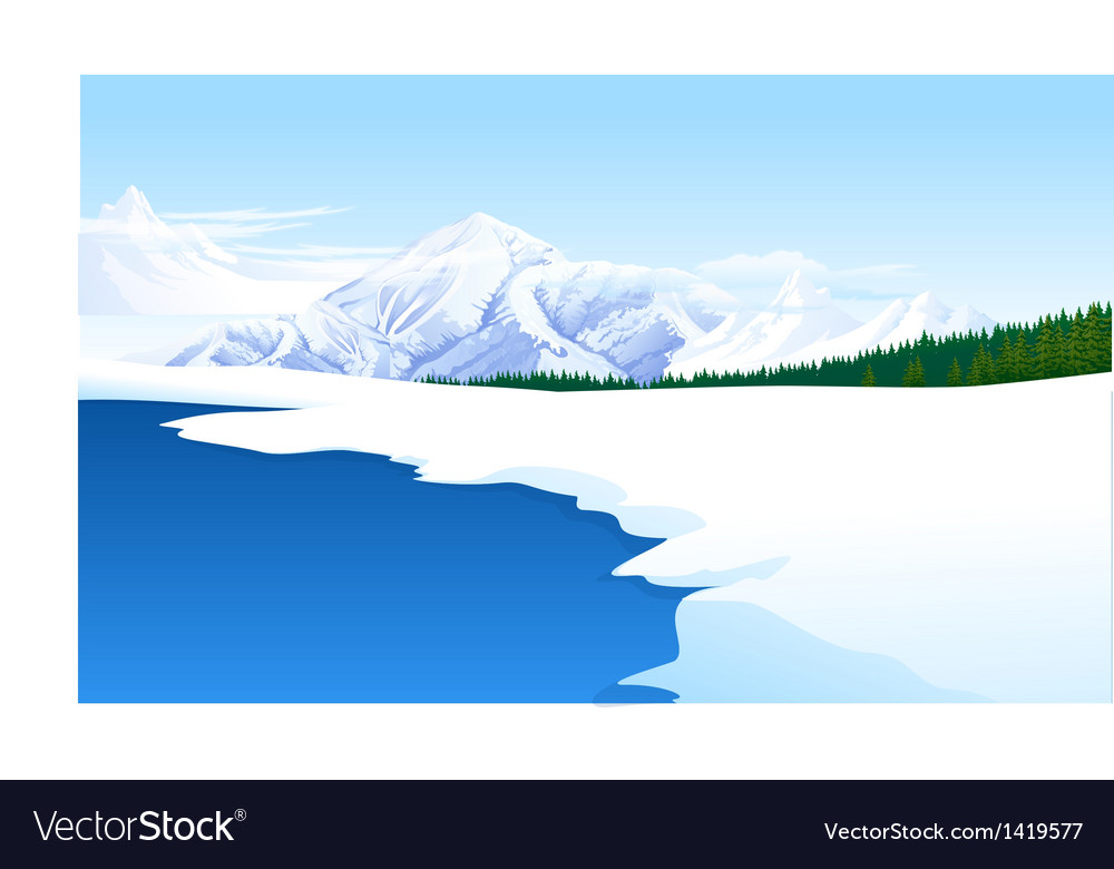 Panoramic view snowcapped landscape vector | Price: 1 Credit (USD $1)