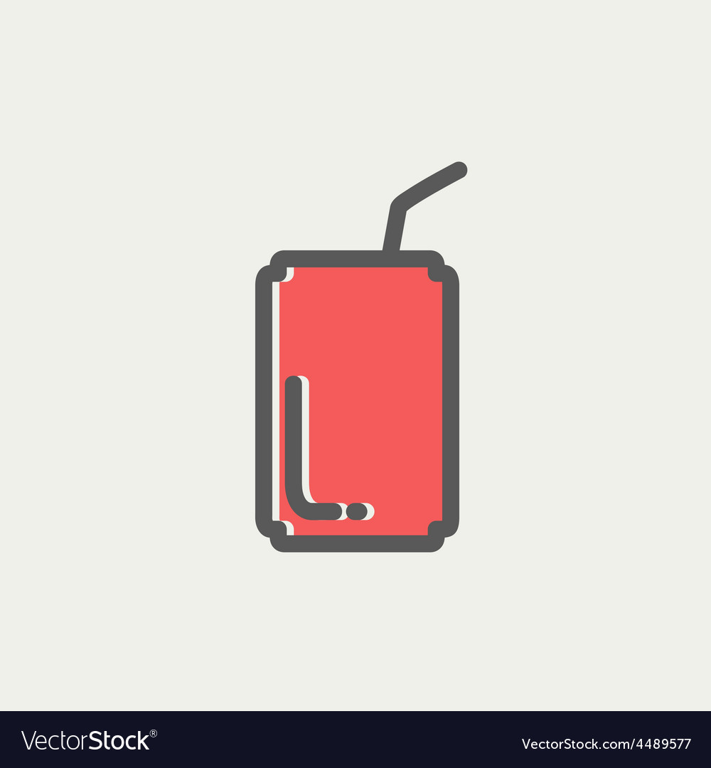 Soda can with straw thin line icon vector | Price: 1 Credit (USD $1)