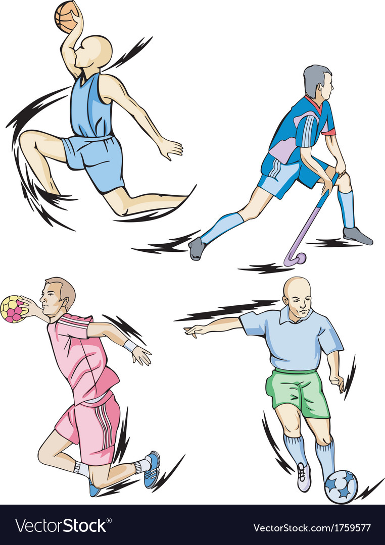 Team sports basketball field hockey handball and vector | Price: 1 Credit (USD $1)