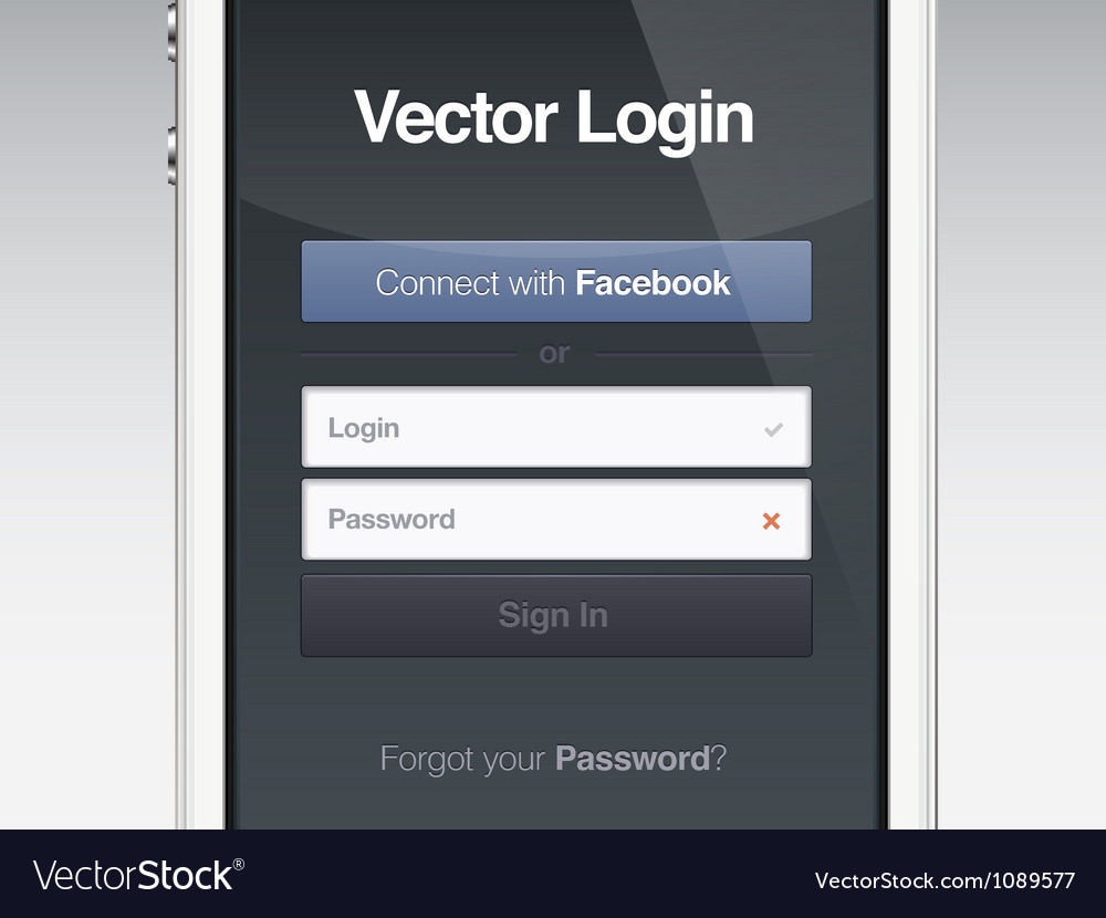 Web page login password security screen vector | Price: 3 Credit (USD $3)