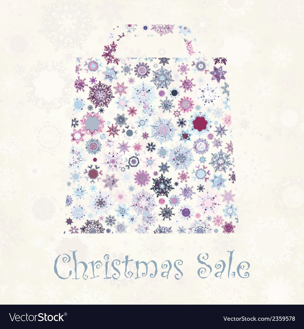 Bag for shopping with snowflakes eps 8 vector | Price: 1 Credit (USD $1)