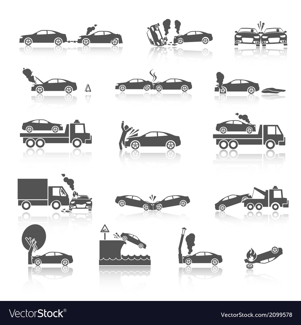 Black and white car crash icons vector | Price: 3 Credit (USD $3)
