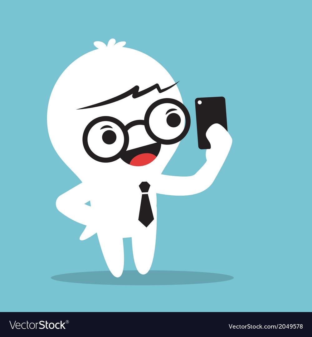 Cartoon businessman holding smartphone and selfie vector   Price: 1 Credit (USD $1)