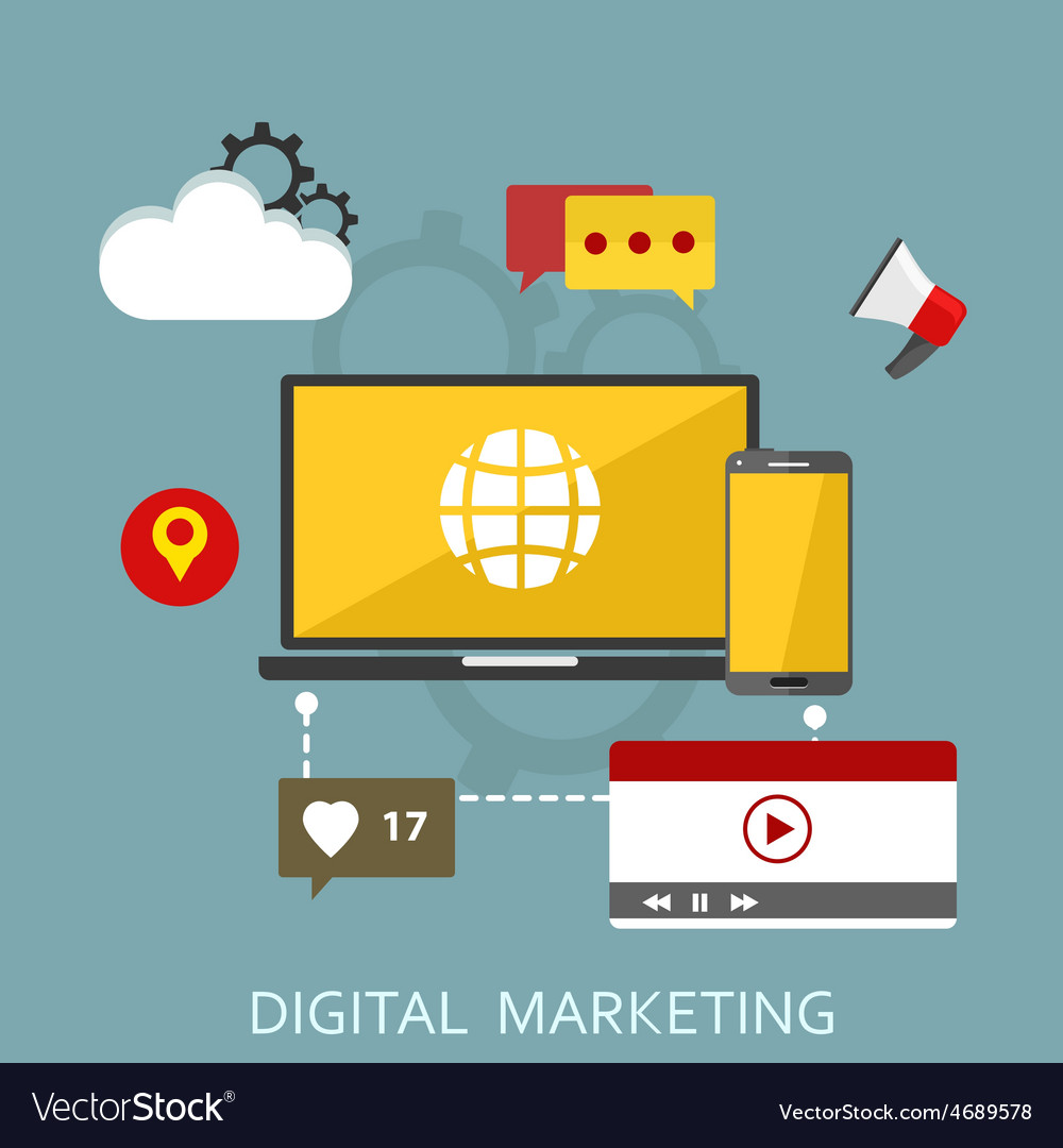 Digital marketing flat vector | Price: 1 Credit (USD $1)
