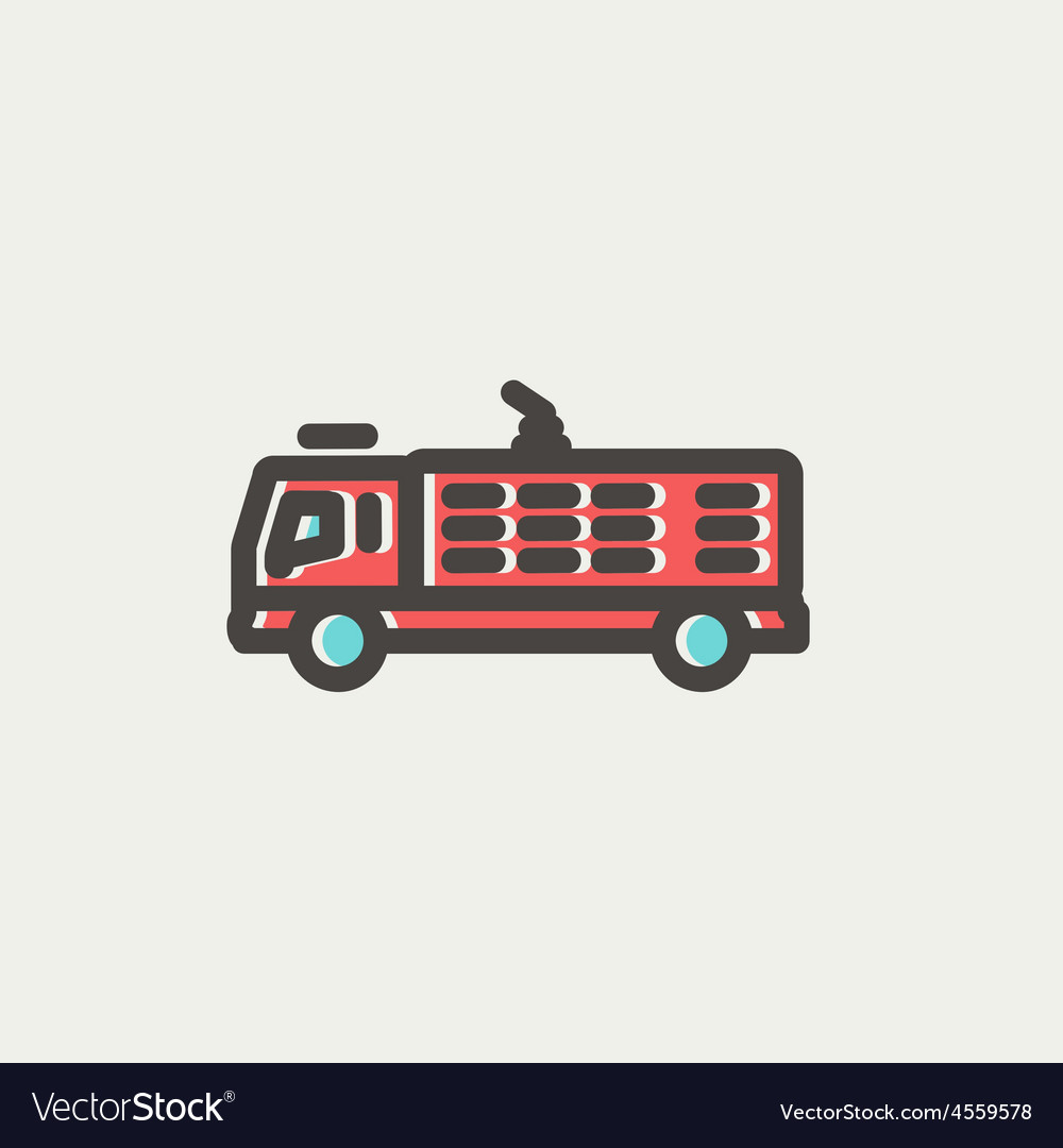 Fire truck thin line icon vector | Price: 1 Credit (USD $1)