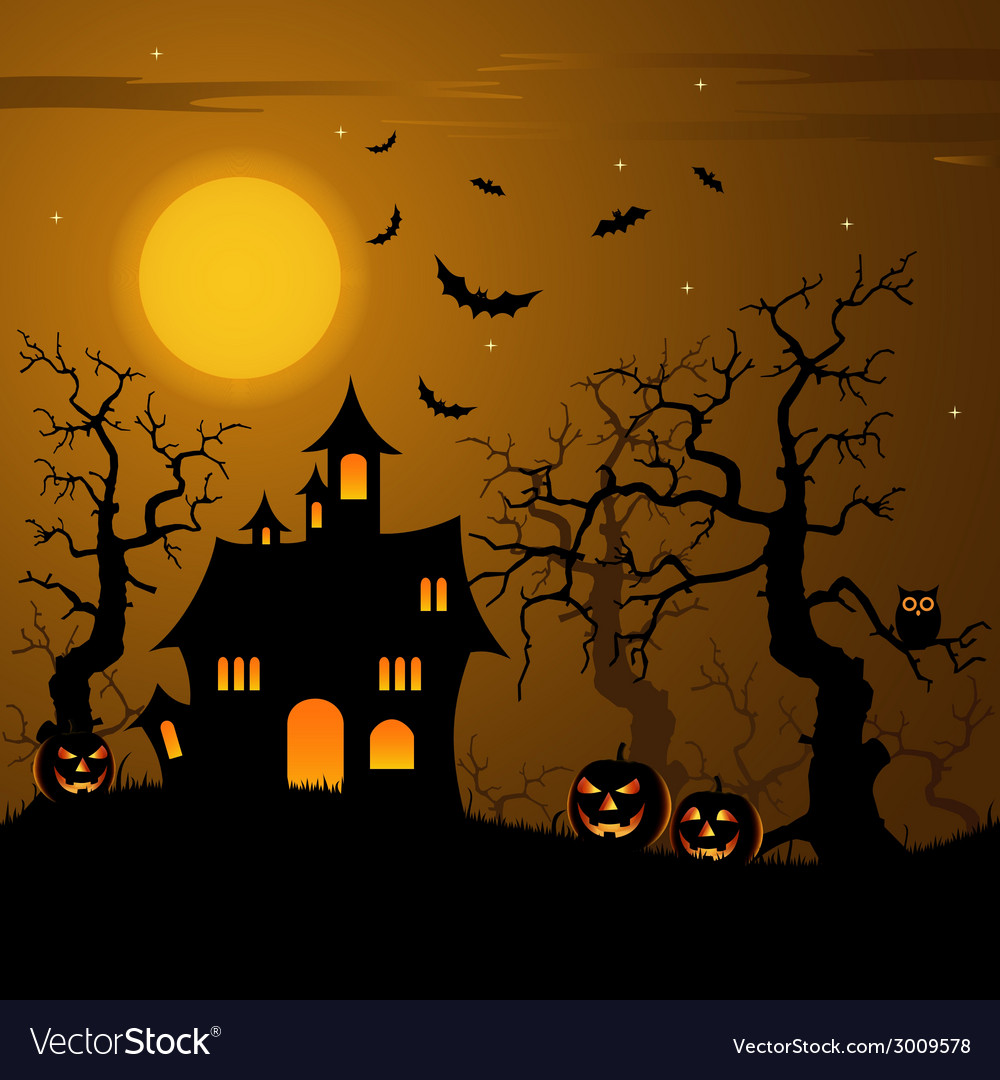 Halloween haunted castle with bats background vector | Price: 1 Credit (USD $1)