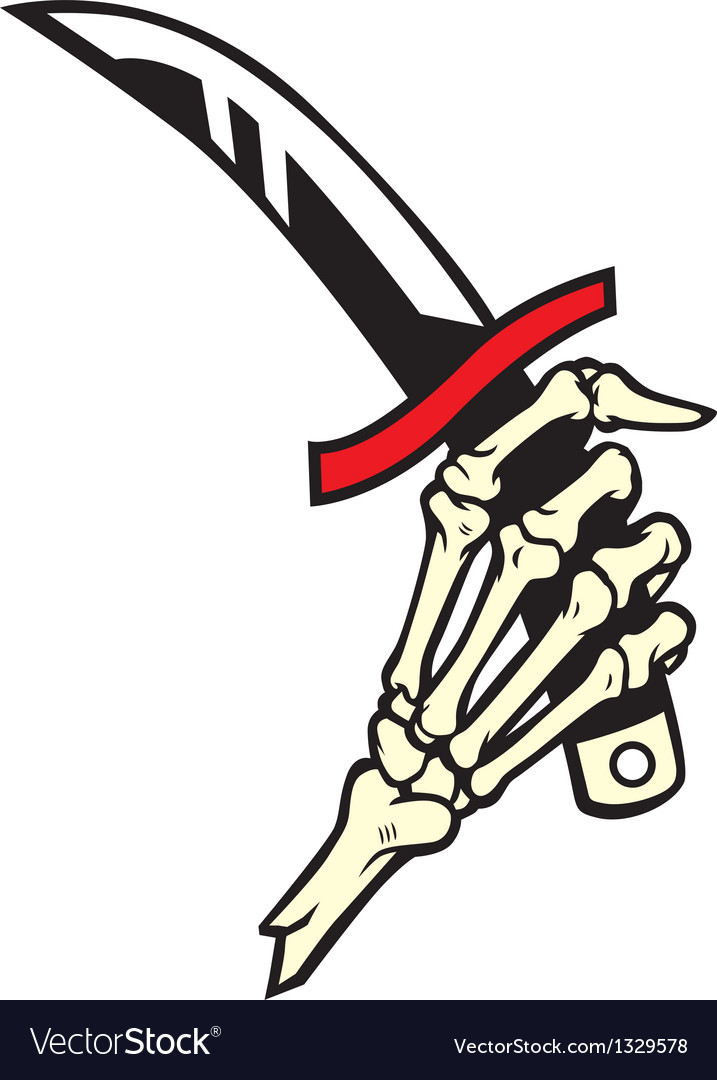 Hand bone hold a dagger vector | Price: 3 Credit (USD $3)
