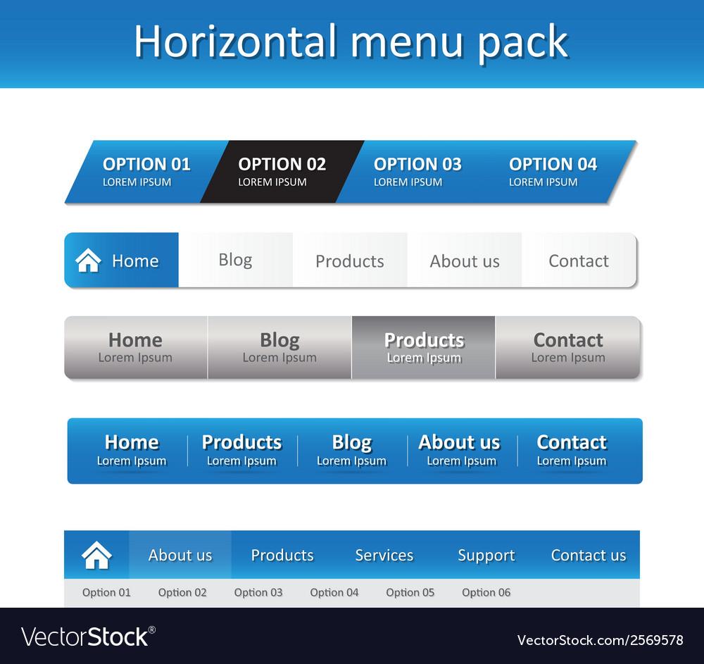 Horizontal menu pack vector   Price: 1 Credit (USD $1)